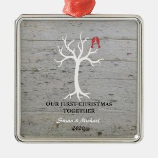 Ornamento De Metal Nosso primeiro Natal ama junto a árvore dos