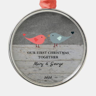 Ornamento De Metal Nosso primeiro Natal ama junto os pássaros de