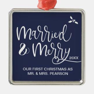 Ornamento De Metal Nosso primeiro Natal, casado e feliz