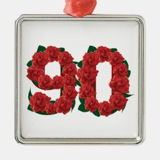 Ornamento De Metal Número 90 ou rosas vermelhas do aniversário do 90