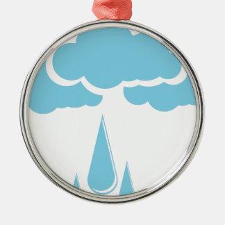 Ornamento De Metal Nuvens com chuvisco