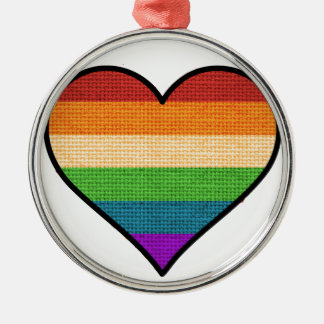 Ornamento De Metal O amor de LGBT é coração do arco-íris do amor