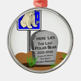 Ornamento De Metal O aquecimento global, RASGA o urso polar 2050
