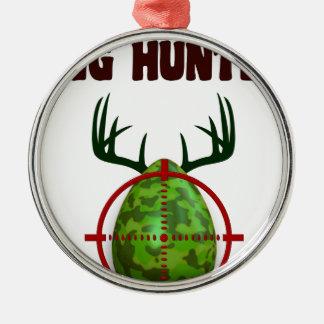 Ornamento De Metal O caçador perito da páscoa, cervo do ovo visa o