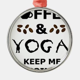 Ornamento De Metal O café e a ioga mantêm-se ir