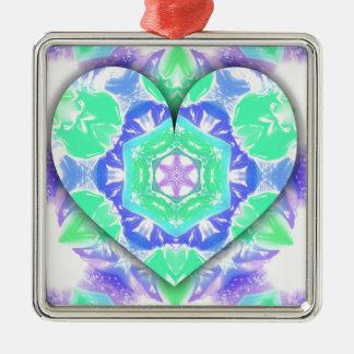 Ornamento De Metal O coração legal do verde 3d da hortelã da lavanda