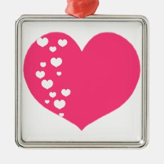 Ornamento De Metal O coração segue o branco cor-de-rosa