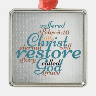 Ornamento De Metal O cristo cristão do Natal restaurará a escritura
