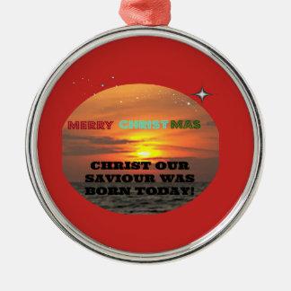 Ornamento De Metal O cristo nosso salvador era nascido hoje
