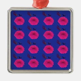 Ornamento De Metal O design floresce o rosa azul