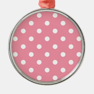 Ornamento De Metal O design pontilha o branco no doce cor-de-rosa