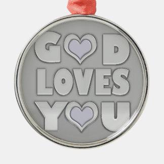 Ornamento De Metal O deus ama-o