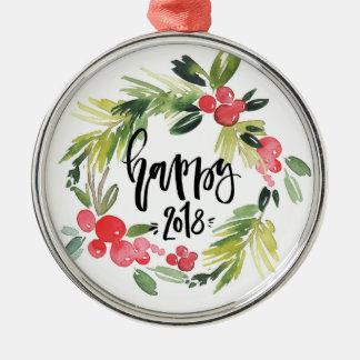 Ornamento De Metal O feliz ano novo 2018 da grinalda do azevinho da