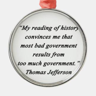 Ornamento De Metal O governo mau - Thomas Jefferson