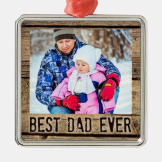 Ornamento De Metal O melhor pai nunca, madeira rústica