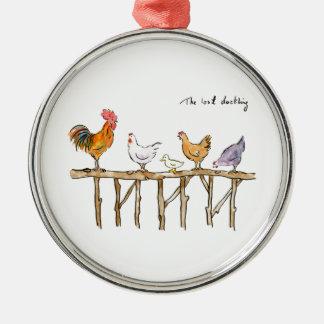 Ornamento De Metal O patinho, as galinhas e o patinho perdidos
