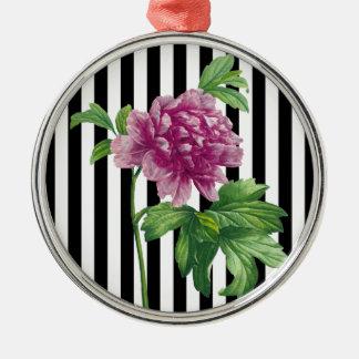 Ornamento De Metal O preto cor-de-rosa da peônia listra o chique