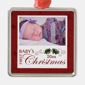 Ornamento De Metal O primeiro Natal do bebê - foto feita sob