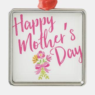 Ornamento De Metal O rosa feliz do dia das mães floresce o presente