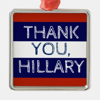 Ornamento De Metal Obrigado branco de Hillary e azul vermelhos