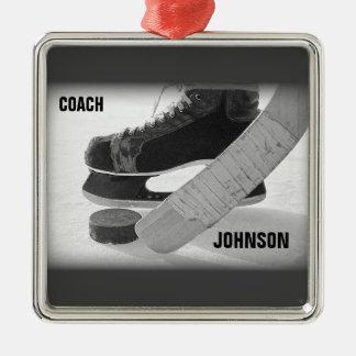 Ornamento De Metal Obrigado do treinador de hóquei em gelo você