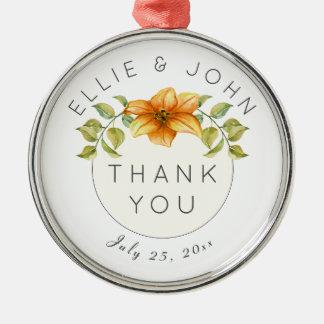 Ornamento De Metal Obrigado Wedding você favorece a flor da estrela