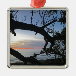 Ornamento De Metal Oceano & árvores