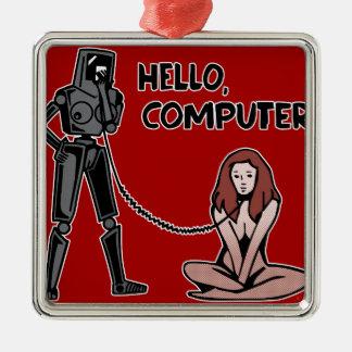 Ornamento De Metal Olá!, computador