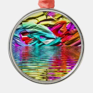 Ornamento De Metal Ondinhas florescentes legal da água do abstrato do
