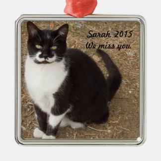 Ornamento De Metal Ornamento: Assento preto do gato do smoking