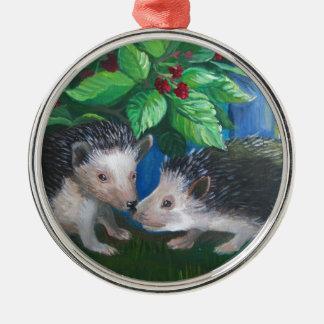 Ornamento De Metal Ouriços na pintura a óleo do amor