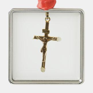 Ornamento De Metal Ouro transversal do Jesus Cristo horizontal