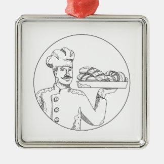 Ornamento De Metal Padeiro que guardara o pão na arte do Doodle da