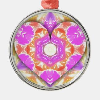 Ornamento De Metal Padrões legal do pêssego da lavanda do coração 3d
