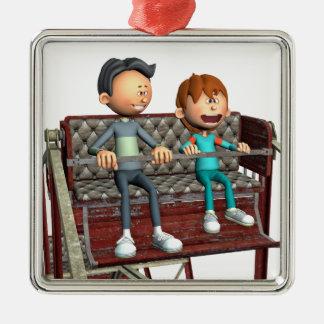 Ornamento De Metal Pai e filho dos desenhos animados em uma roda de