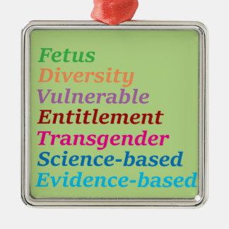 Ornamento De Metal Palavras baseados em ciência e outras proibidas