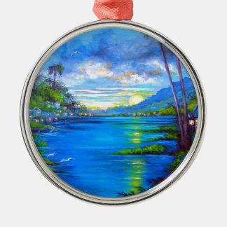 Ornamento De Metal Palmas tropicais azuis
