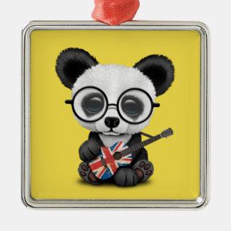 Ornamento De Metal Panda do bebê que joga a guitarra britânica da