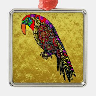 Ornamento De Metal Papagaios na folha de ouro azul verde vermelha