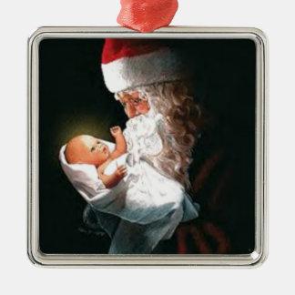 Ornamento De Metal Papai Noel que guardara o bebê Jesus