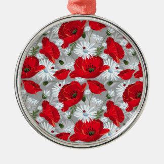 Ornamento De Metal Papoila vermelha bonita, margaridas brancas e