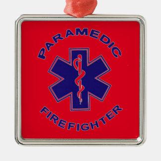 Ornamento De Metal Paramédico do sapador-bombeiro
