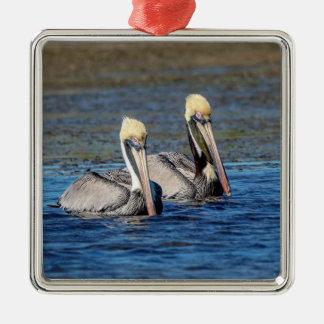 Ornamento De Metal Pares de pelicanos