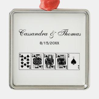 Ornamento De Metal Pás reais do resplendor reto do póquer da noite do