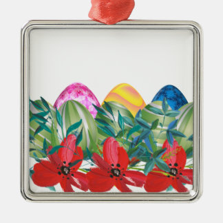 Ornamento De Metal Páscoa, flor, ovos, aguarela