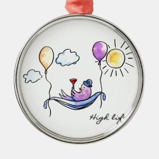 """Ornamento De Metal """"Pássaro cómico da vida alta"""" no hammock no céu"""