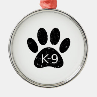 Ornamento De Metal Pata afligida Grunge K-9 do cão