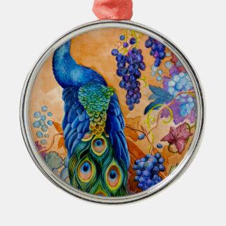 Ornamento De Metal Pavão e uvas