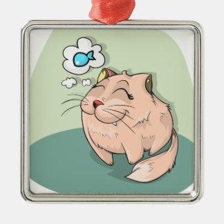 Ornamento De Metal Peixes animais do gato que pensam o animal de