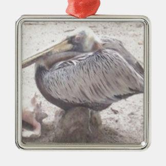 Ornamento De Metal Pelicano puro com Shell